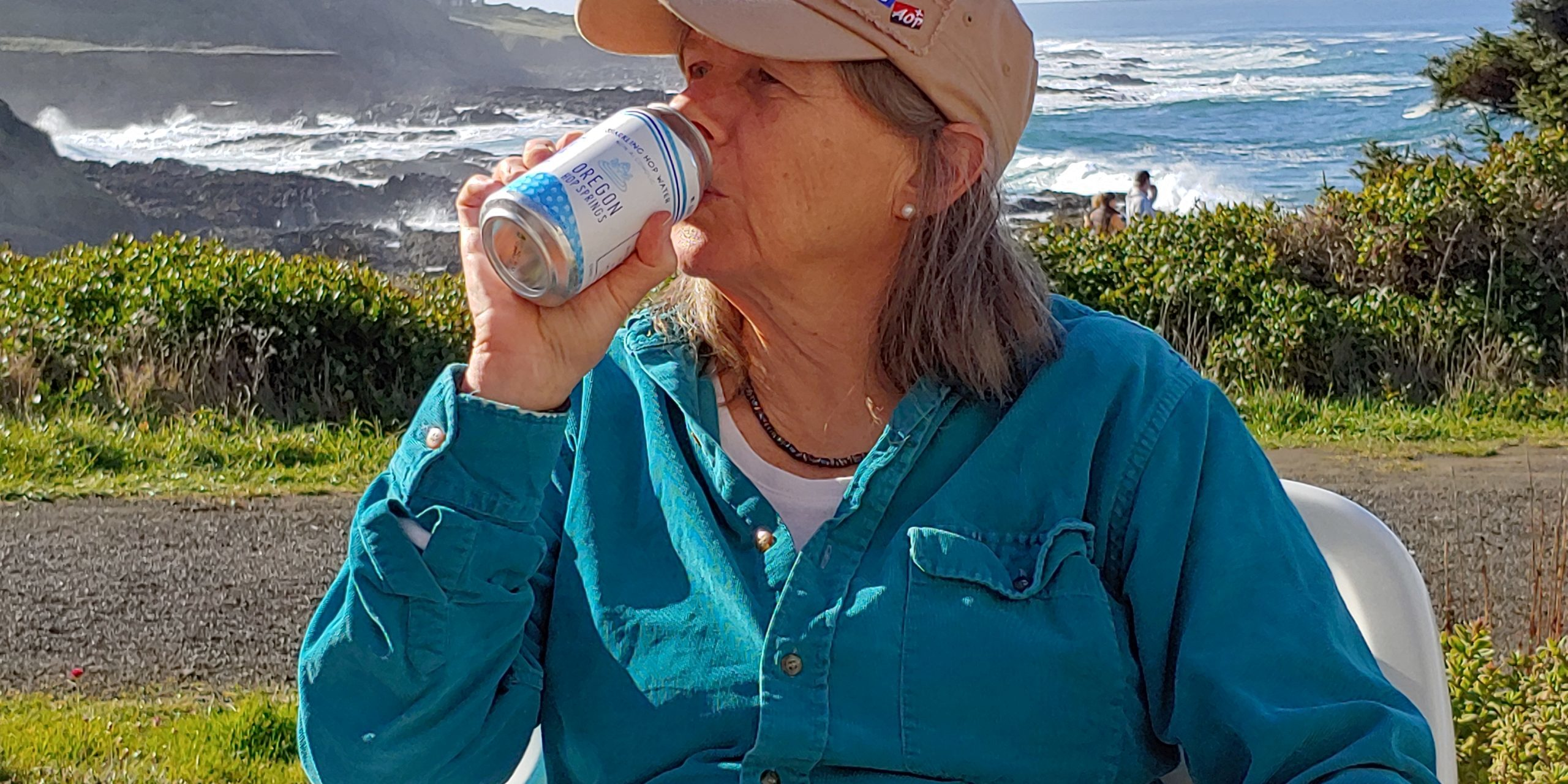 Co-founder Cindy enjoying the view and the Hop Water